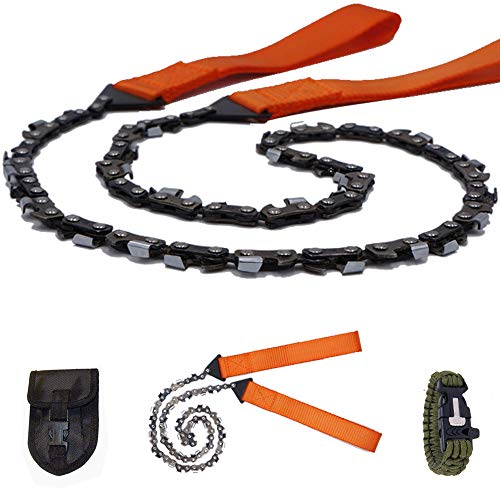 Survival Pocket Chainsaw Folding Hand Saw Chain 33 Serrated 3x faster-24 inch Hand Saw with Orange Straps for Wood cutting Hiking Camping gear Include Survival Bracelet Whistle Wristband & ()