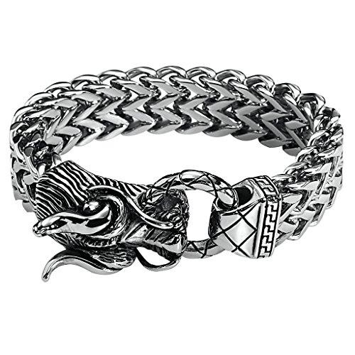 (Gnzoe Men's Stainless Steel Bracelet Vintage Dragon Heavy Multi-Strand Wheat Chain Silver 21.5CM )