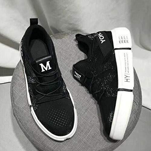 elástico Heel Negra con Primavera White Verano de Cerrado Zapatos Mujer con Blanca Punta Tejido ZHZNVX Sneakers Comfort Flat Rosa 1aXPBwqn