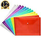 SUBANG 12 Pack Poly Envelope Waterproof Transparent Document Folder with Snap Button Closure,Project Envelope Folder, Premium Quality Document Folder A4 Size 6 Assorted Colors