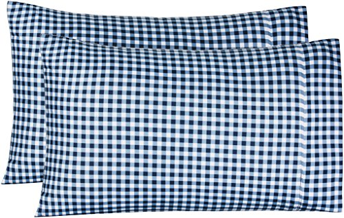 AmazonBasics Microfiber Pillowcases - 2-Pack, Standard, Gingham Plaid