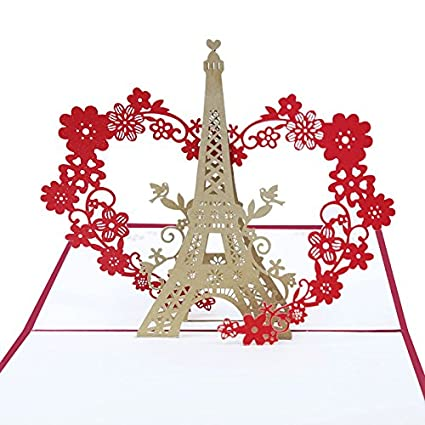 Amazon popup greeting card 3d handmade i love you heart design popup greeting card 3d handmade i love you heart design eiffel tower greeting cards for valentines m4hsunfo