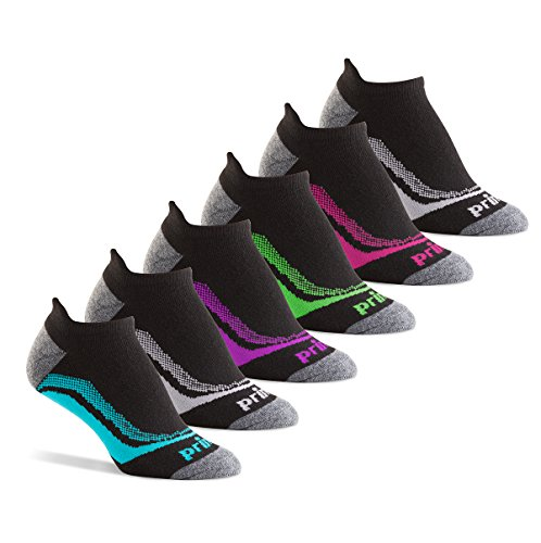 Prince Women's Tab Performance Athletic Socks for Running, Tennis, and Casual Use (6 Pair Pack) (Women's Shoe Size 8-12 (US), Black)