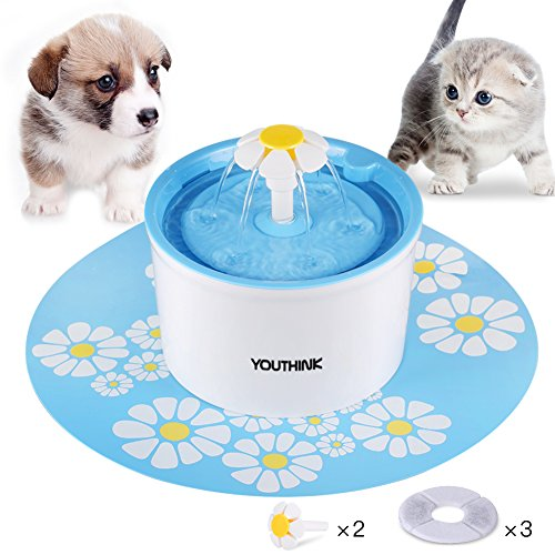 YOUTHINK Auto Circulating BPA Free 1.6L Indoor Water Fountain with 3 Filters, 2 Flowers and 1 Silicone Mat for Dogs and Cats, Blue (Dog Water Fountain Automatic)