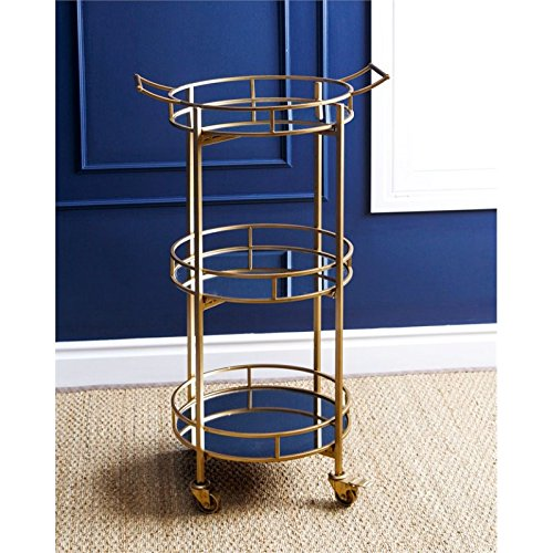 Abbyson Living Blake 3 Tier Cylinder Bar Cart in Gold