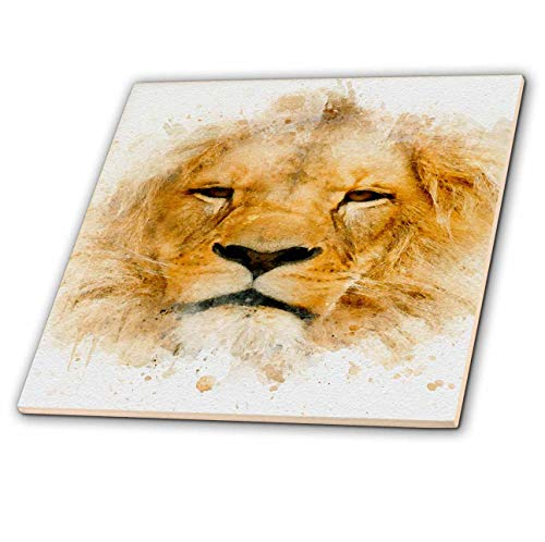 3dRose Anne Marie Baugh - Impressionist Mixed Media Art - Image Of Watercolor Lion Face Art - 6 Inch Ceramic Tile (ct_318684_2)