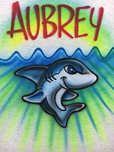 Airbrush T Shirt, Blue Shark, Cute Kids Tee ()