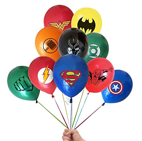 Superhero Balloons 20 Pack 12 Inches Latex Balloons for Kids Birthday Party Supplies, Perfect for Girls and Boys comic theme Party and Decorations (Avengers, Spiderman, Batman, and Marvel) ()