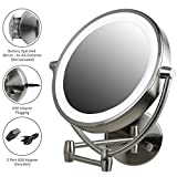 Ovente Wall Mount Mirror, Battery or USB Adapter Operated, Dimmable LED Lighted Makeup Mirror, 1x/7x Magnification, 9.5 inch, Nickel Brushed (MLW45BR1x7x)