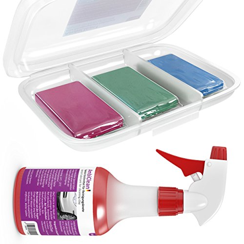 Lackreiniger-Set zur professionellen Lackreinigung | 3x100g Knete + 500ml Spezial Gleitmittel | Optimale Auto-Pflege als Vorbereitung für die Autopolitur oder zur Anbringung von Autofolie