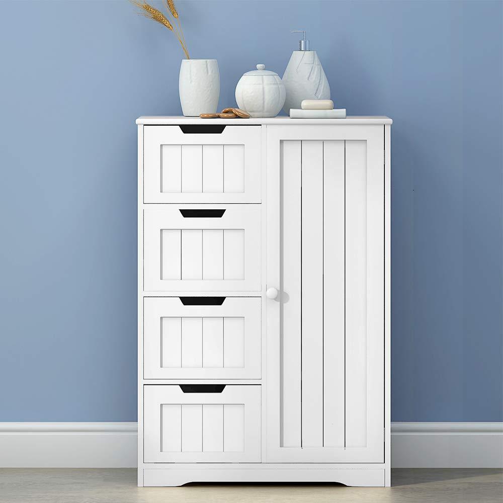 BLUE HORIZON Bathroom Cabinet 4 Drawer 1 Door Floor Bathroom Storage Cabinet Cupboard Organiser Unit,White