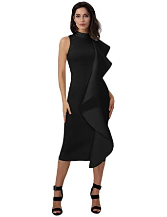 0d541e7a29cce1 Maketina Womens Ruffle Patchwork Sleeveless High Neck Bodycon Elegant Midi Party  Dress Black XS