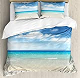 Ocean Decor King Size Duvet Cover Set by Ambesonne, Tropical Sandy Beach at Summer Sunny Day, Decorative 3 Piece Bedding Set with 2 Pillow Shams
