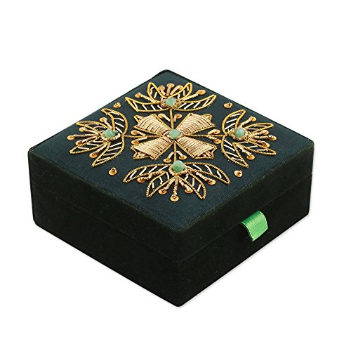 NOVICA Gold and Green Beaded Cross Jewelry Box with Velvet Lining, Forest (Beaded Glass Cross)