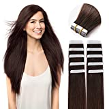 """18"""" Remy Tape in Hair Extensions Human Hair 20pc 50g/pk Dark Brown #2"""