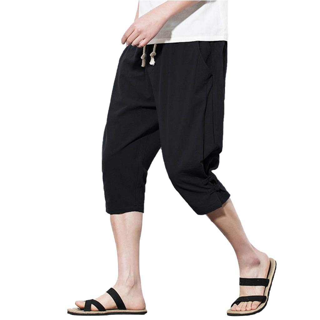 Men's Calf-Length Pants, Clearance-Fashion Training Casual Athletic Elasticated Waist Button Linen Loose Solid Short Pant