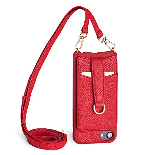 Italian Leather Cell Phone Strap - Vaultskin Victoria Crossbody iPhone Leather Wallet Case, Fashionable Bumper for Cards and Cash - Holds up to 8 Cards (iPhone 6/7/8, Winsor Red, Leather Strap)