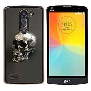 YiPhone /// Prima de resorte delgada de la cubierta del caso de Shell Armor - Plata Cráneo gris Bling Dead metal - LG L Prime D337 / L Bello D337