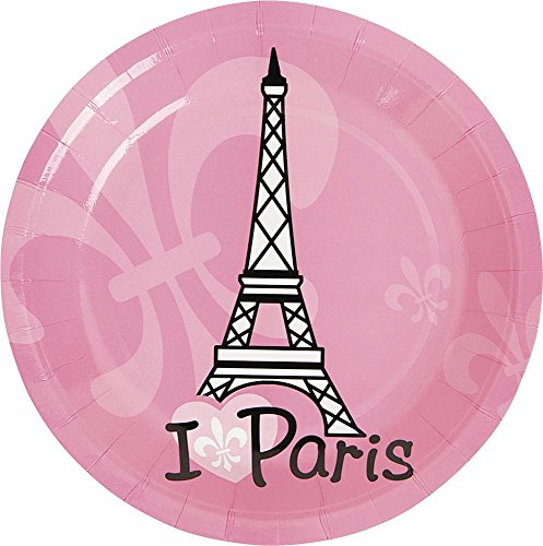 Parisian Costume Ideas (Fun Express Paris Party Cake Plates (8 Pack), 7