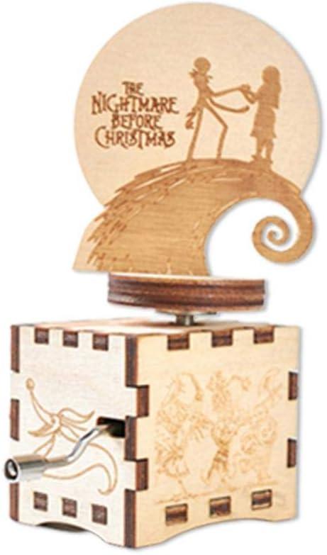 Sunronal Caja de música de Madera Noche de Halloween Caja de música Manivela - Caja de música clásica Tallada Antigua Regalo Pesadilla Antes de Navidad Caja de música: Amazon.es: Hogar