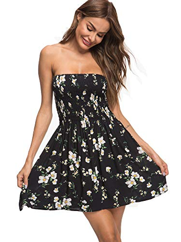 just quella Women's Summer Cover Up Strapless Dresses Solid Tube Top Beach Mini Dress (S, Black Flower)