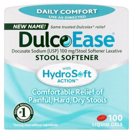 DulcoEase Stool Softener with HydroSoft Action, Value 3 Pack ( 300 Liquid Gels ) by Dulcolax