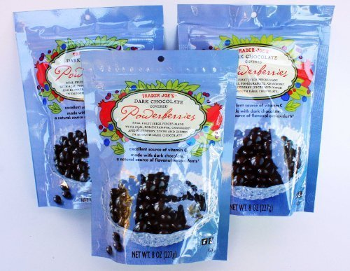 Trader Joe's Dark Chocolate Covered Power Berries with Acai, Pomegranate, Cranberry and Blueberry - 3 PACK by Trader Joe's Monrovia CA [Foods] by Trader Joe's