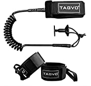 TAGVO Body Board Leash 4 Feet 7mm Coiled with 2 Pack Fin Saver, Comfortable Lightweight Padded Neoprene Cuff w