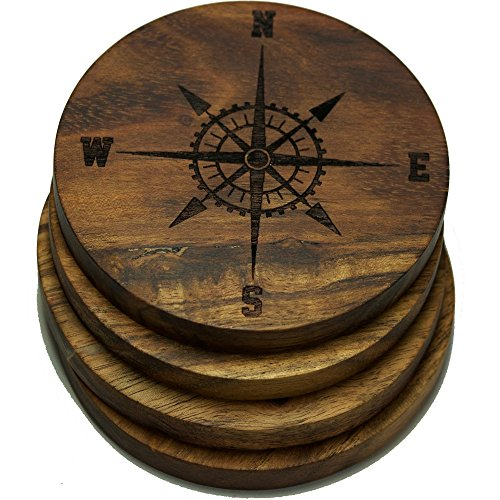 Compass Rose V2 (Nautical) Drink Coasters (Multiple Designs) - Engraved Acacia Wood Design - Set of Four
