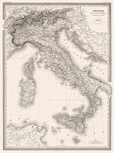 Historical 1860 Dufour Map of Italy |18 x 24 Fine Art Print | Antique Vintage Map ()