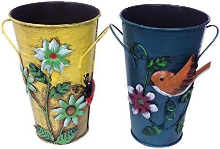 Set of 2 Handmade Iron Vase or Planter or Holder with Raised Flowers Ladybug Butterfly Dragonfly Bee Birds Yellow Ladybug and Blue Bird