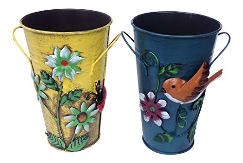 Set of 2 Handmade Iron Vase or Planter or Holder with Raised Flowers Ladybug Butterfly Dragonfly Bee Birds (Yellow ladybug and blue bird)