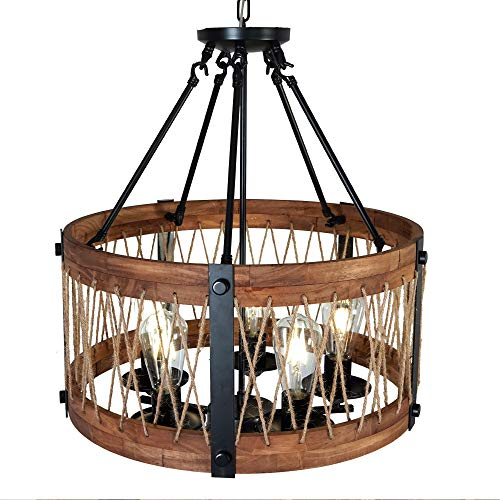 Light Fixtures Perth: A&B Home Perth Wooden Chandelier, 12.6 X 20.9-Inch