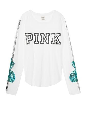 36b215ba8b0fd Victoria's Secret Pink Bling Football Tee Shirt Long Sleeve Crew ...