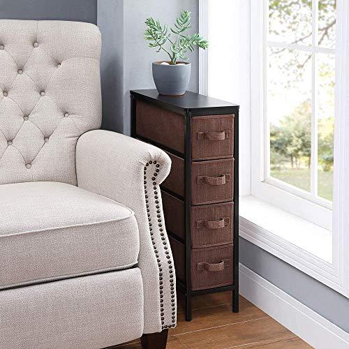 HOME BI Storage Cube Dresser, Narrow Storage Organizer Unit with 4 Easy Pull Fabric Bins, Storage Tower for Bedroom/Hallway/Entryway, Brown