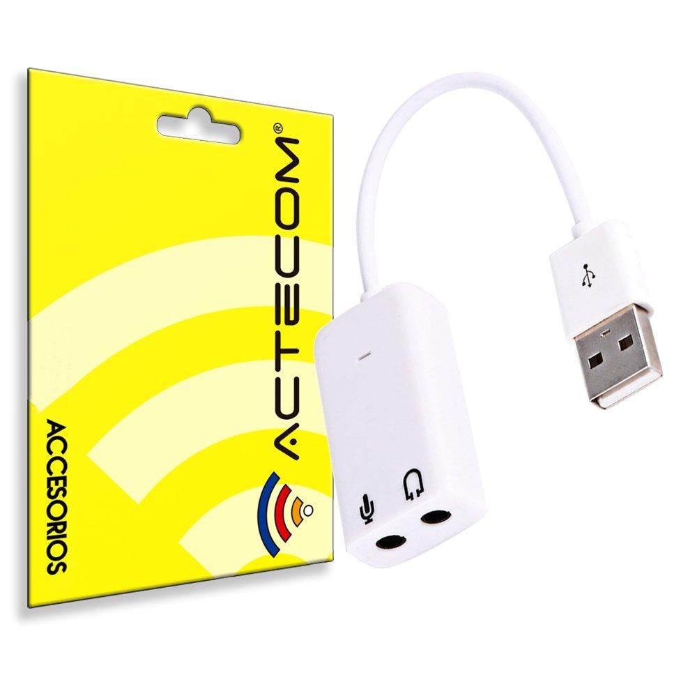 actecom® Adaptador Tarjeta de Sonido USB 2.0 Audio Sound 7.1 Mini ...