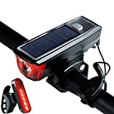 DARONGFENG Waterproof LED Cycling Light,5 Modes 120db Bicycle Bell Horn,Solar/USB Rechargeable Power Bicycle Headlight,Solar Power Bank for Charging in Cycling