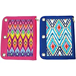 Inkology Ikat Binder Pencil Pouch, 10.5 x 8.25 Inches, Pink and Blue - Color will Vary (414-1)
