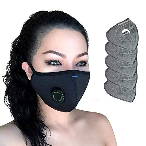 N99 Respirator Dust Mask - Military Grade Activated Carbon Filtration Multi-Layer Protection from Pollution Pollen Allergy Washable PM2.5 Half Face Mask w/Valve Men Women Kids ()