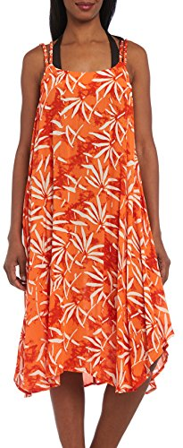 Kaktus Women's Double Strap Bamboo Print Swim Cover Up Trapeze Dress, Orange, Small (Kaktus Clothing)