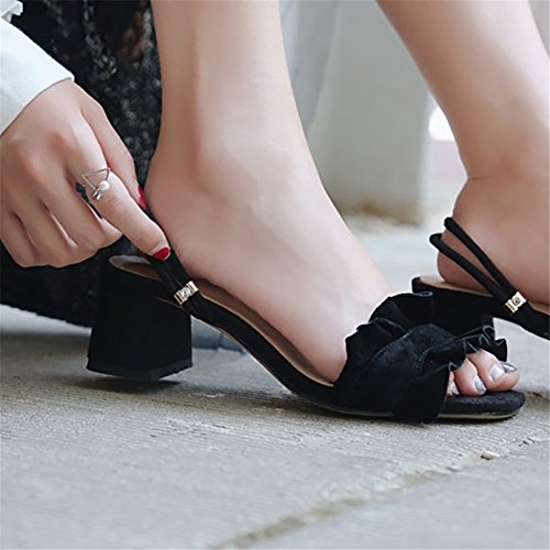 6 Leaf Black Shoes Head Size Wear US Leather Two with Color Round Black Lotus with CTqnwZ774