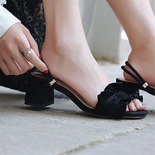 Cuir 38 Noir Tête Chaussures des Yiwuhu Deux Couleur EU avec avec Sauvage en de Taille Noir Ronde Feuilles Lotus aqwqUdPz