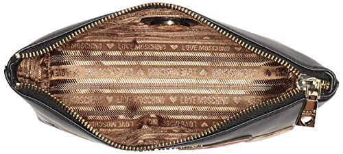 Love Moschino - Bustina Calf Pu Nero, Carteras de mano con asa Mujer, Schwarz (Black), 15x25x6 cm (W x H D)