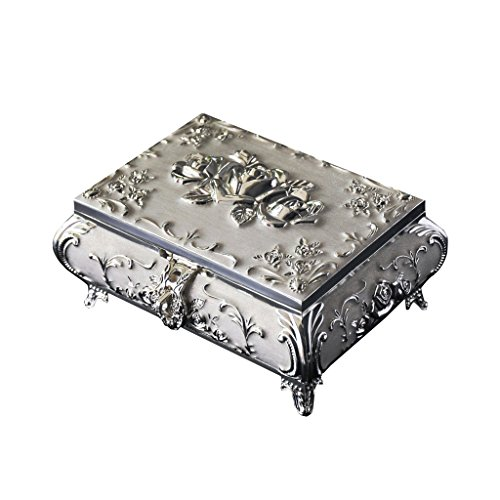 Betty Personalised Antique Silver Plated Jewellery Box- Silver