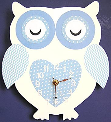 Nursery Wall Clock, Nursery Owl Clock, Hanging Owl Clock, Children's Room Wall Clock, Owl Wall Clock, Kid's Room Owl Wall Clock (White)