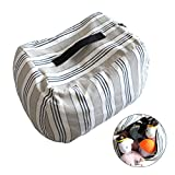 iDili Stuffed Animal Storage Bean Bag Chair Cover Perfect Storage Solution for Extra Blankets Pillows Covers Towels and Clothes Premium Cotton Canvas Normal Size Blue Stripe