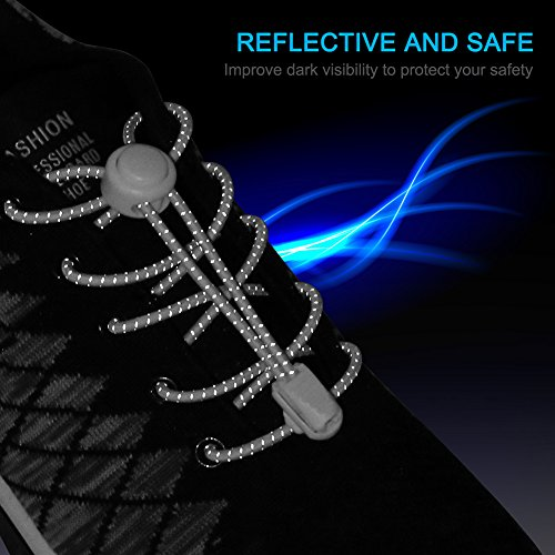 AMLY 4 Pairs of Elastic No Tie Shoelaces, Upgraded Lock, Reflective Shoe Laces for Kids and Adults (Black- Black-Black-Black)