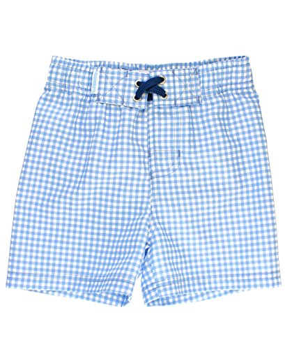 RuggedButts Baby/Toddler Boys Blue Gingham Swim Trunks - - Shorts Seersucker Gingham