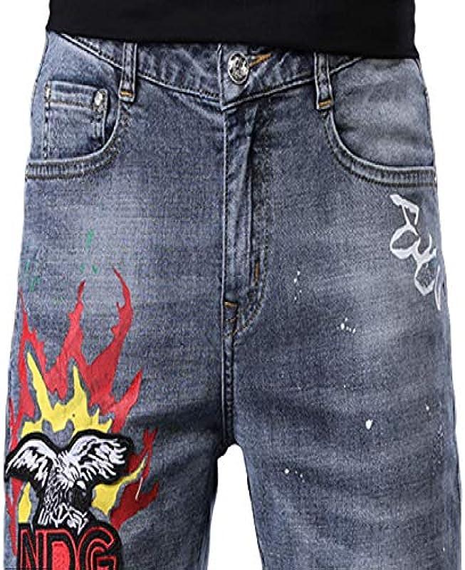 Corumly Męskie dżinsy na wiosnę i lato, haftowane, slim stretch, z nadrukiem, cienkie spodnie, regulowany otwÓr na kostce 28: Odzież