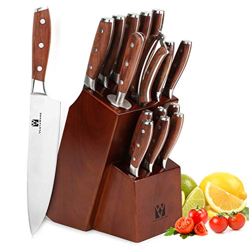 Kitchen Knife Sets with Block, Vestaware 16-Piece Knives Set German Stainless Steel, Forged Chef Knife Set Professional…